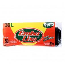Saco Para Lixo Embalixo Super Econ Preto - 30 Litros - C/ 50 Sacos