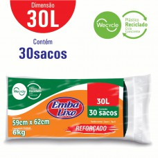 Saco Para Lixo Embalixo Wecycle ReforÇado Preto  - 30 Litros - C/ 30 Sacos