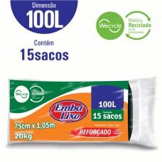 Saco Para Lixo Embalixo Wecycle ReforÇado Preto - 100 Litros - C/ 15 Sacos