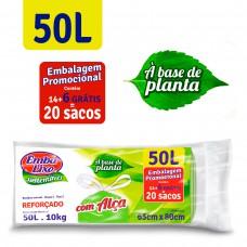 Saco Para Lixo Embalixo SustentÁvel Planta AlÇas  50l - C/ 20 Sacos