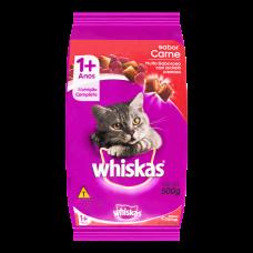 Ração Para Gatos Sabor Carne Com Delícias Crocantes Whiskas 500g