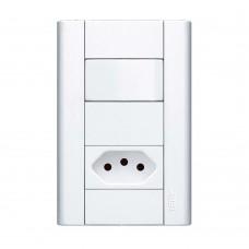 Interruptor Simples E Tomada Padrão 10a Modulare Com Placa Fame