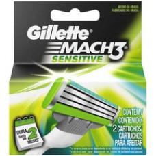Carga Para Aparelho De Barbear Gillette Mach3 Sensitive 2 Unidades